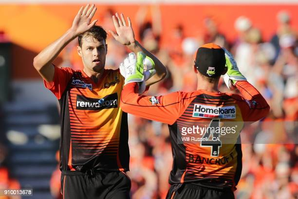 Matthew Kelly of the Scorchers celebrates after taking the wicket of Jake Weatherald of the Strikers during the Big Bash League match between the...