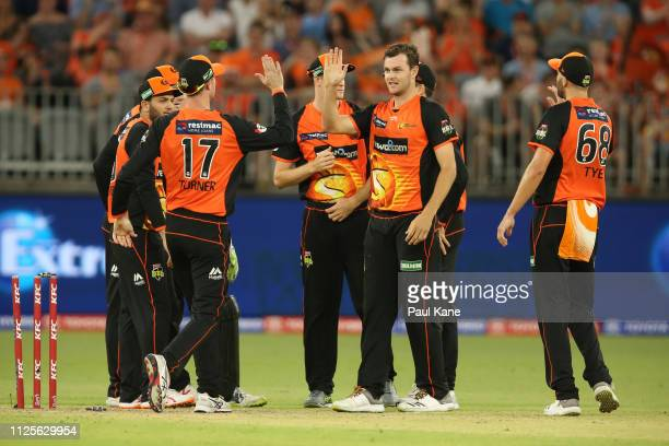 Matthew Kelly of the Scorchers celebrates running out Tom Cooper of the Renegades the Big Bash League match between the Perth Scorchers and the...
