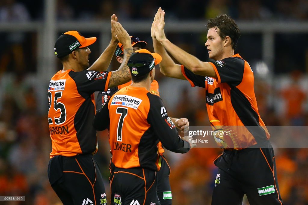 Matthew Kelly of the Scorchers celebrates the wicket of George Bailey of the Hurricanes during the Big Bash League match between the Perth Scorchers and the Hobart Hurricanes at WACA on January 20, 2018 in Perth, Australia.