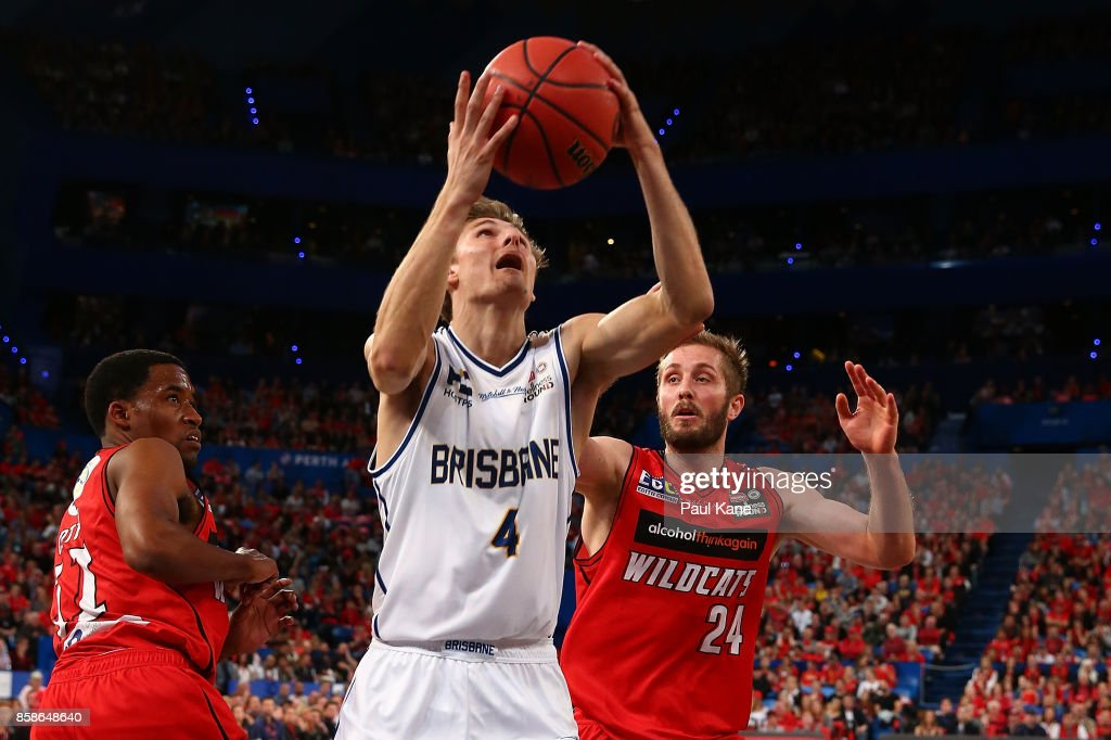 Matthew Kenyon of the Bullets looks to put a shot up during the round one NBL match between the Perth Wildcats and the Brisbane Bullets at Perth Arena on October 7, 2017 in Perth, Australia.