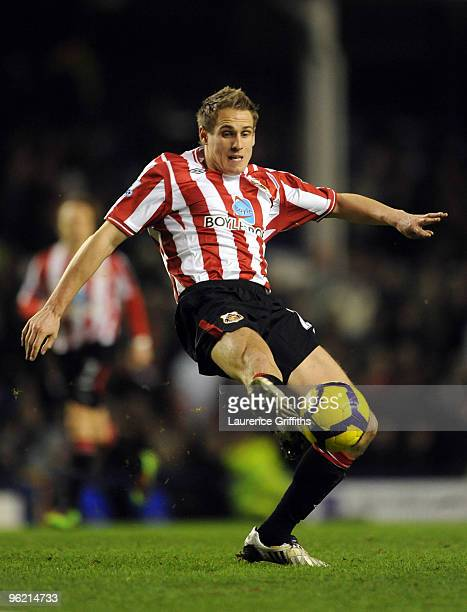Matthew Kilgallon of Sunderland in action during the Barclays Premier League match between Everton and Sunderland at Goodison Park on January 27 2010...