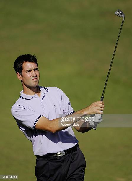 Matthew King of England holes his second shot to record an eagle on the par 4 fifth hole during the second round of the European Tour Qualifying...