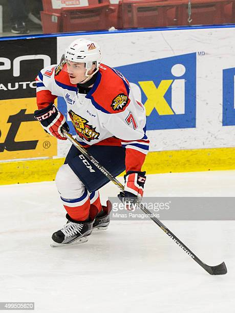 Matthew Klebanskyj of the Moncton Wildcats skates during the QMJHL game against the Blainville-Boisbriand Armada at the Centre d'Excellence Sports...