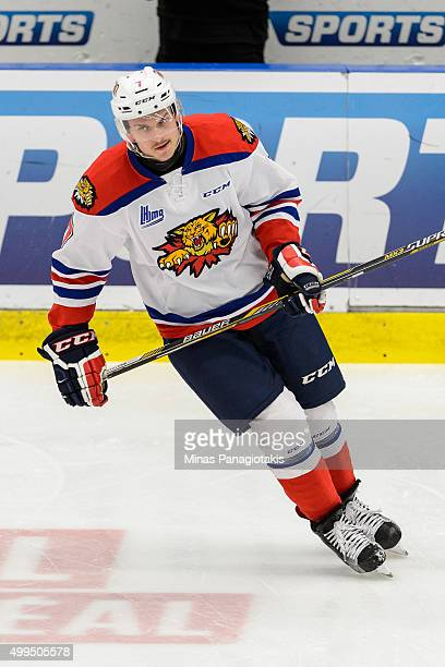 Matthew Klebanskyj of the Moncton Wildcats skates during the warmup prior to the QMJHL game against the Blainville-Boisbriand Armada at the Centre...