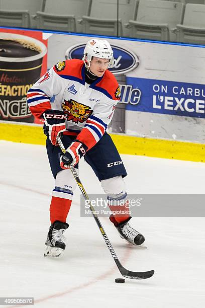 Matthew Klebanskyj of the Moncton Wildcats skates with the puck during the warmup prior to the QMJHL game against the Blainville-Boisbriand Armada at...