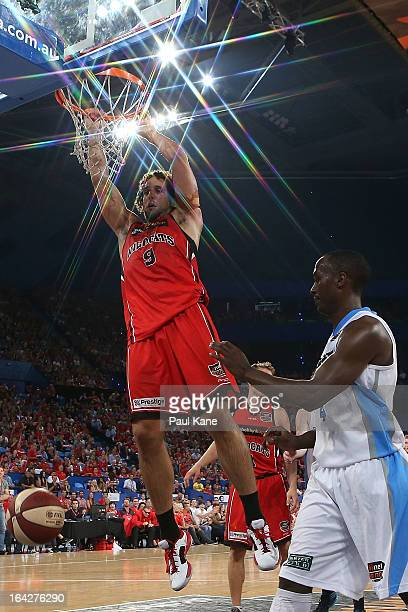 Matthew Knight of the Wildcats dunks the ball during the round 24 NBL match between the Perth Wildcats and the New Zealand Breakers at Perth Arena on...