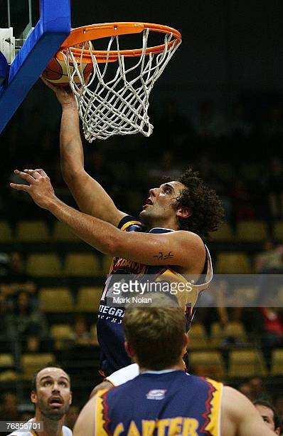 Matthew Knight scores for the Razorbacks during the round one NBL match between the West Sydney Razorbacks and the Townsville Crocodiles at the...