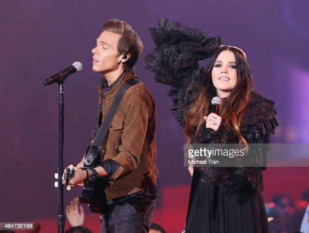 Matthew Koma and Miriam Bryant perform onstage during the 2014 MTV Movie Awards held at Nokia Theatre L.A. Live on April 13, 2014 in Los Angeles,...