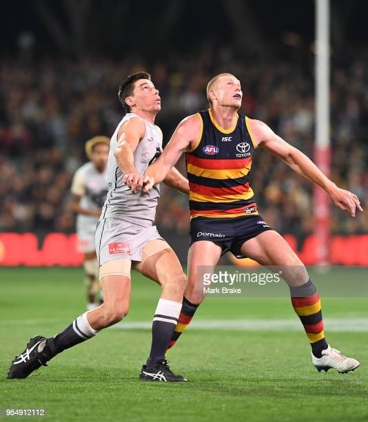Matthew Kreuzer of the Blues and Cameron O'Shea of the Blues compete for a throw in during the round seven AFL match between the Adelaide Crows and...