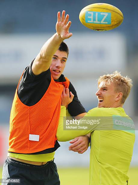 Matthew Kreuzer of the Blues and Dennis Armfield compete for the ball during the Carlton Blues AFL training session at Ikon Park on June 1 2016 in...