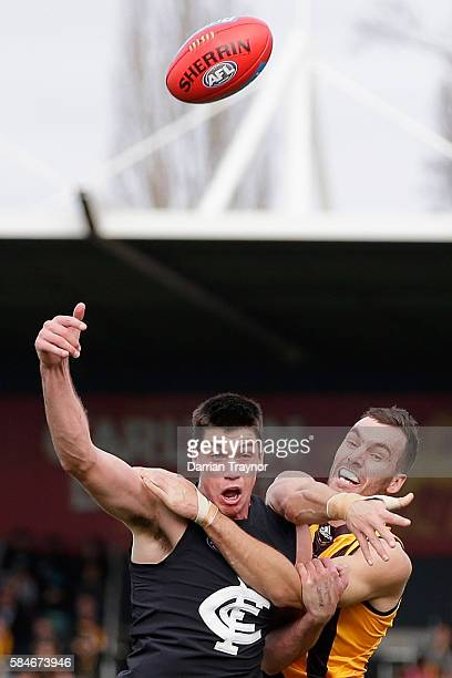 Matthew Kreuzer of the Blues and Jonathon Ceglar of the Hawks compete in the ruck during the round 19 AFL match between the Hawthorn Hawks and the...