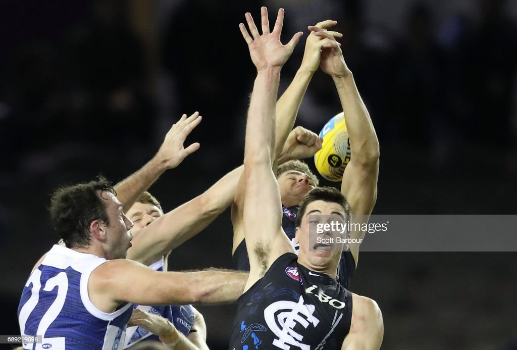 Matthew Kreuzer of the Blues and Todd Goldstein of the Kangaroos compete for the ball during the round 10 AFL match between the Carlton Blues and the North Melbourne Kangaroos at Etihad Stadium on May 28, 2017 in Melbourne, Australia.