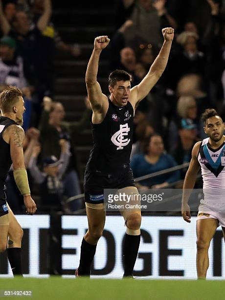 Matthew Kreuzer of the Blues celebrates a goal during the round eight AFL match between the Carlton Blues and Port Adelaide Power at Etihad Stadium...