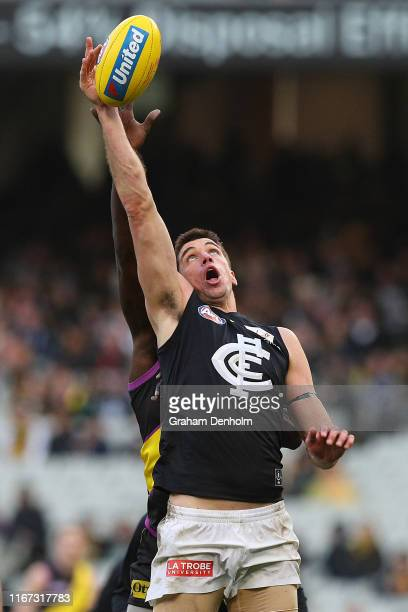 Matthew Kreuzer of the Blues competes in the air during the round 21 AFL match between the Richmond Tigers and the Carlton Blues at Melbourne Cricket...