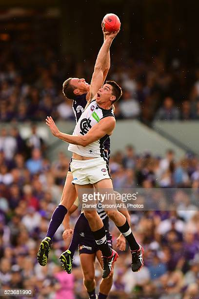 Matthew Kreuzer of the Blues contests a ruck with Jonathon Griffin of the Dockers during the 2016 AFL Round 05 match between the Fremantle Dockers...