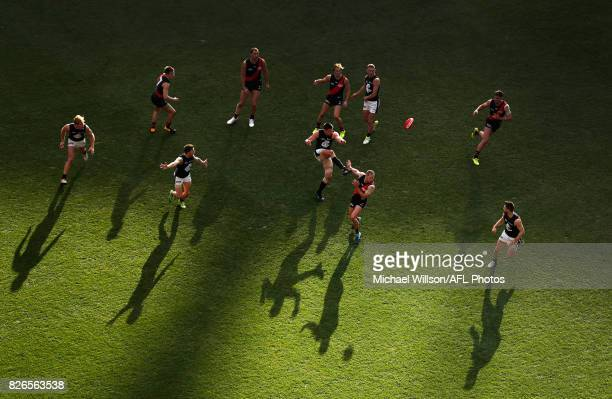 Matthew Kreuzer of the Blues kicks the ball during the 2017 AFL round 20 match between the Essendon Bombers and the Carlton Blues at the Melbourne...