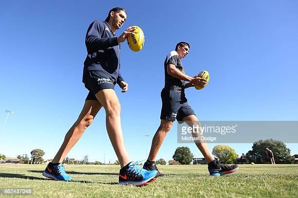 Matthew Kreuzer walks laps during a Carlton Blues AFL preseason training sessions on January 29 2015 in Mansfield Australia