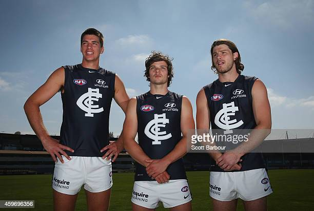 Matthew Kruezer Dylan Buckley and Bryce Gibbs of the Blues pose as they unveil Carltons guernsey for 2015during a Carlton Blues AFL preseason...