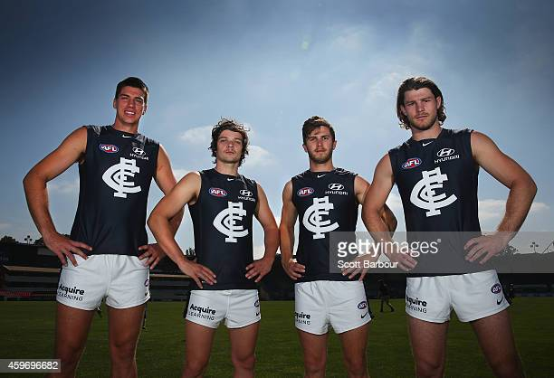 Matthew Kruezer Dylan Buckley Marc Murphy and Bryce Gibbs of the Blues pose as they unveil Carltons guernsey for 2015during a Carlton Blues AFL...