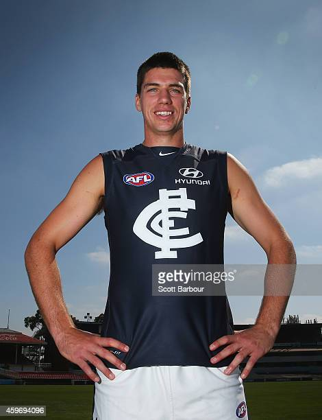 Matthew Kruezer of the Blues poses as he unveils Carltons guernsey for 2015 during a Carlton Blues AFL preseason training session at Visy Park on...