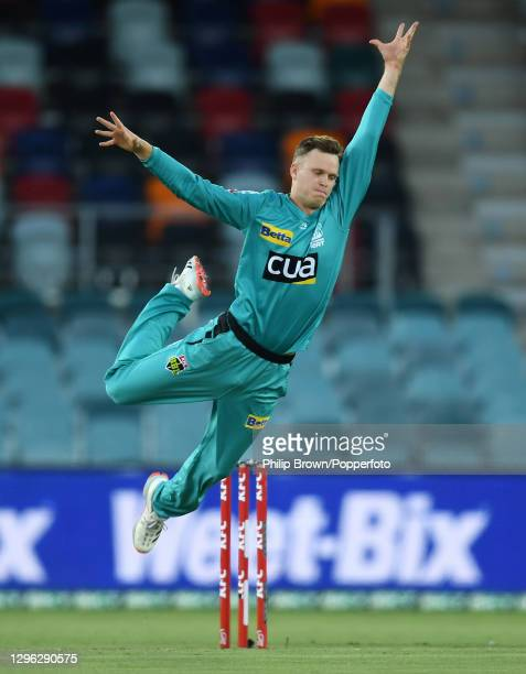 Matthew Kuhnemann of Brisbane Heat fails to stop a ball during the Big Bash League match between the Brisbane Heat and the Melbourne Renegades at...