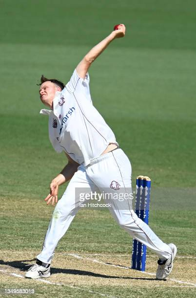 Matthew Kuhnemann of Queensland bowls during day two of the Sheffield Shield match between Queensland and Tasmania at Riverway Stadium, on October 28...