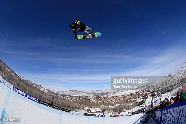 Matthew Ladley in action en route to first place finish in the men's FIS Snowboard World Cup at the 2016 US Snowboarding Park City Grand Prix on...