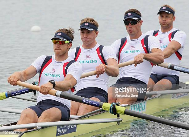 Matthew Langridge Alex Gregory Richard Egington and Alex Partridge of Great Britain row in the men's four qualification heat of the FISA Rowing World...