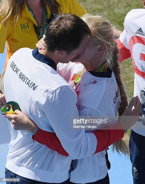 Matthew Langridge and Polly Swann of the Great Britain rowing team kiss on Day 8 of the Rio 2016 Olympic Games at the Lagoa Stadium on August 13 2016...