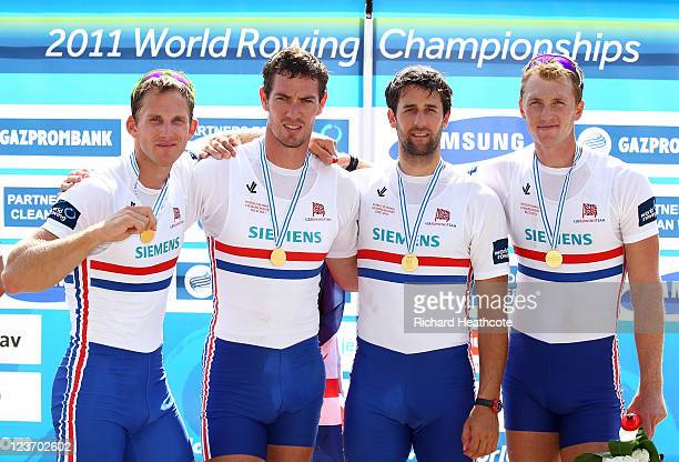 Matthew Langridge Richard Egington Tom James and Alex Gregory of Great Britain celebrate with their gold medals after winning the Men's Four final...