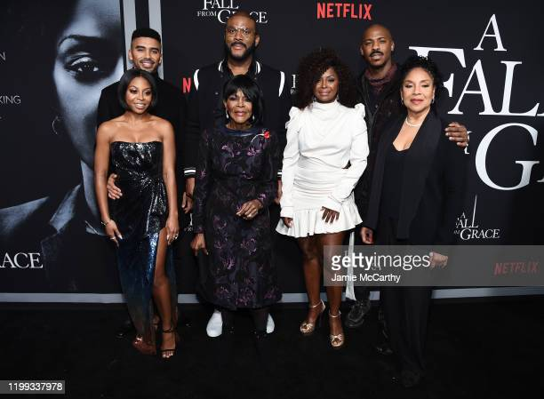 Matthew Law Tyler Perry and Mehcad Brooks Bresha Webb Cicely Tyson Crystal Fox and Phylicia Rashad attend the premiere of Tyler Perry's A Fall From...