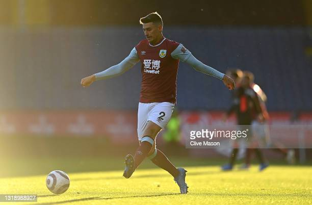 Matthew Lawton of Burnley in action during the Premier League match between Burnley and Liverpool at Turf Moor on May 19, 2021 in Burnley, England.