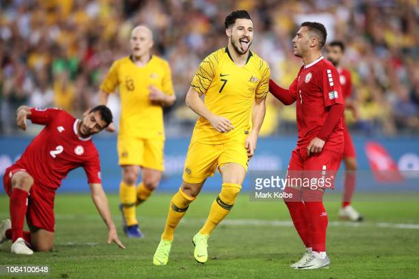 Matthew Leckie of Australia celebrates scoring a goal during the International Friendly Match between the Australian Socceroos and Lebanon at ANZ...