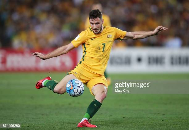 Matthew Leckie of Australia takes a shot on goal during the 2018 FIFA World Cup Qualifiers Leg 2 match between the Australian Socceroos and Honduras...