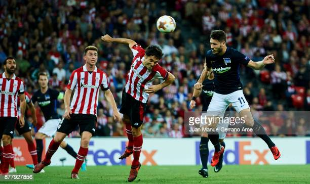 Matthew Leckie of Hertha BSC scoring during the UEFA Europa League group J match between Athletic Bilbao and Hertha BSC at San Mames Stadium on...