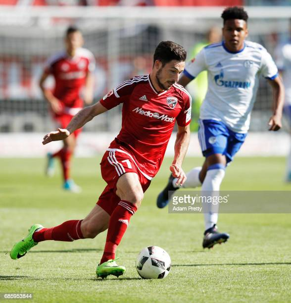 Matthew Leckie of Ingolstadt 04 in action during the Bundesliga match between FC Ingolstadt 04 and FC Schalke 04 at Audi Sportpark on May 20 2017 in...