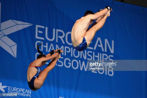 Matthew Lee and Lois Toulson of Great Britain compete in the Mixed Synchronised 10m Platform Final during the diving on Day Ten of the European...