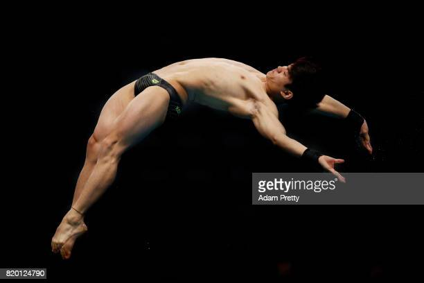 Matthew Lee of Great Britain competes during the competes during the Men's Diving 10m Platform preliminary round on day eight of the Budapest 2017...