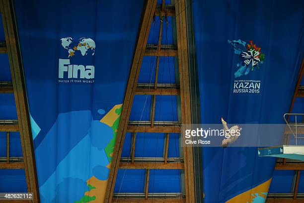 Matthew Lee of Great Britain competes in the Men's 10m Platform preliminary round on day eight of the 16th FINA World Championships at the Aquatics...