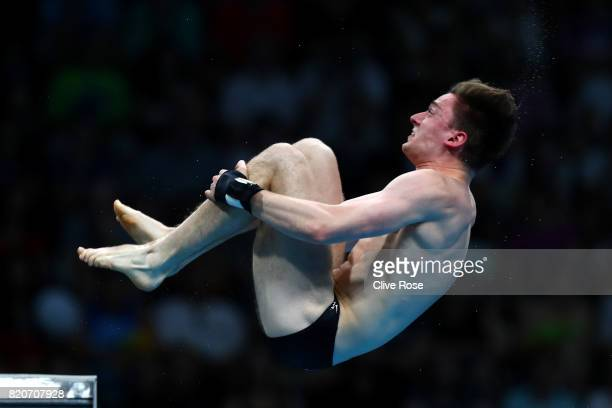 Matthew Lee of Great Britain during the Men's 10M Platform final on day nine of the Budapest 2017 FINA World Championships on July 22 2017 in...