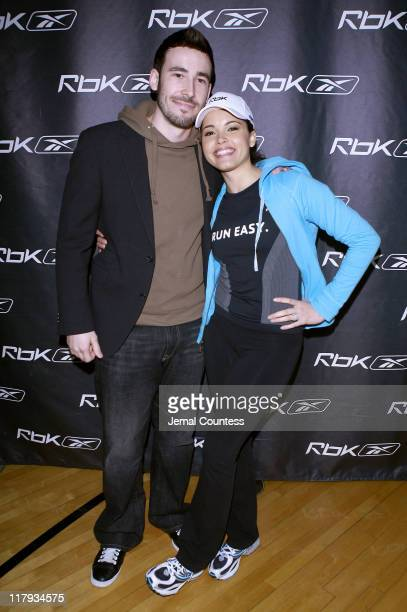 Matthew Leslie and Susie Castillo during MTV VJ and Former Miss USA Susie Castillo and Deangelo Hall of the Atlanta Falcons Join Reebok CMO Uli...