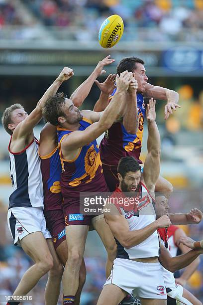 Matthew Leuenberger of the Lions attempts a mark during the round five AFL match between the Brisbane Lions and the Melbourne Demons at The Gabba on...