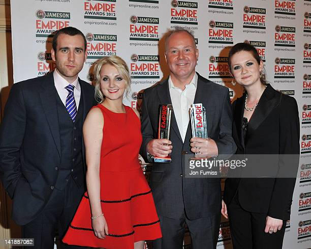 Matthew Lewis Evanna Lynch director David Yates and Bonnie Wright winners of Best Film award and Best Director award pose in the press room during...
