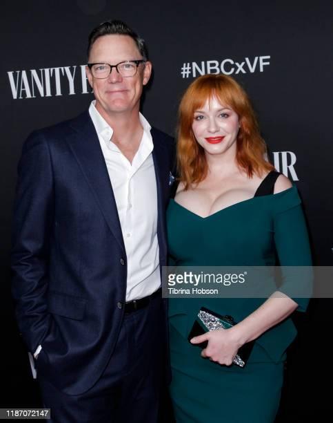 Matthew Lillard and Christina Hendricks attend NBC and Vanity Fair's celebration of the season at The Henry on November 11, 2019 in Los Angeles,...