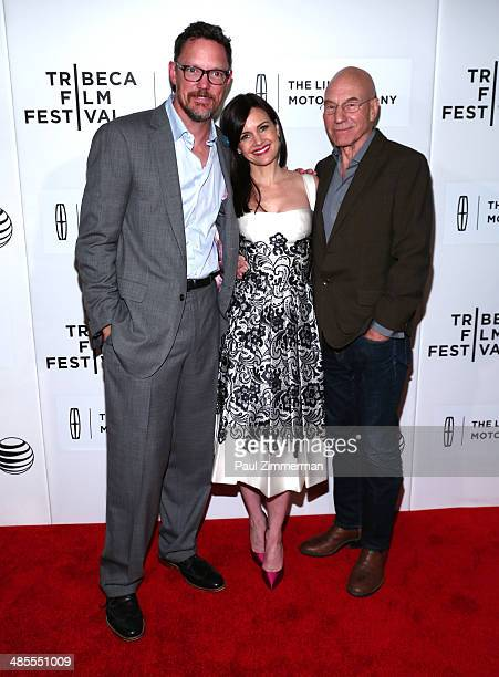 Matthew Lillard Carla Gugino and Sir Patrick Stewart attend the 'Match' screening during the 2014 Tribeca Film Festival at BMCC Tribeca PAC on April...