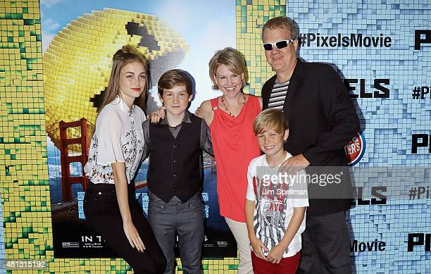 Matthew Lintz and family attend the Pixels New York premiere at Regal EWalk on July 18 2015 in New York City
