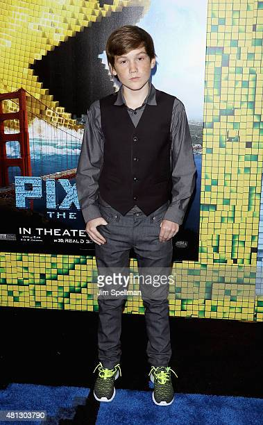 Matthew Lintz attends the Pixels New York premiere at Regal EWalk on July 18 2015 in New York City