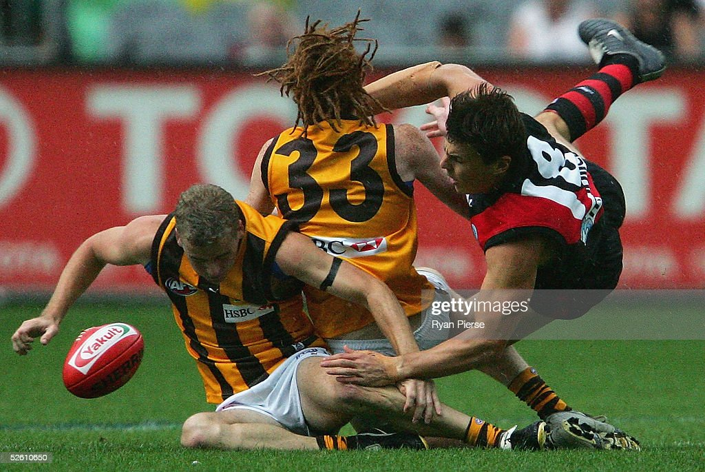 Matthew Lloyd #18 for the Bombers clashes with Josh Thurgood #33 for the Hawks during the round three AFL match between the Essendon Bombers and the Hawthorn Hawks at the M.C.G. on April 10, 2005 in Melbourne, Australia.