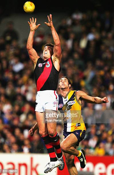 Matthew Lloyd for the Bombers in action during the round sixteen AFL match between The West Coast Eagles and The Essendon Bombers at Subiaco Oval on...