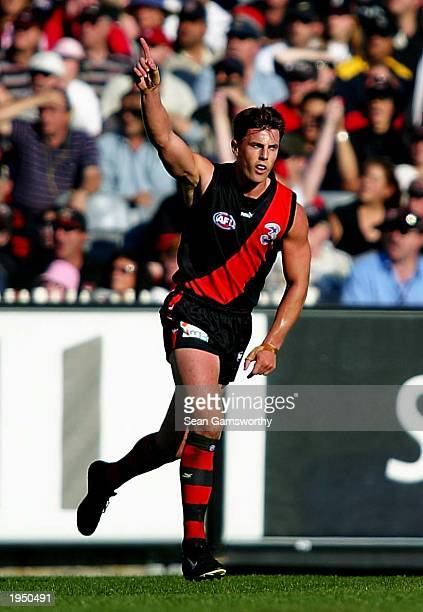 Matthew Lloyd of Essendon celebrates a goal during the AFL round five Anzac Day match between the Essendon Bombers and Collingwood Magpies April 25...